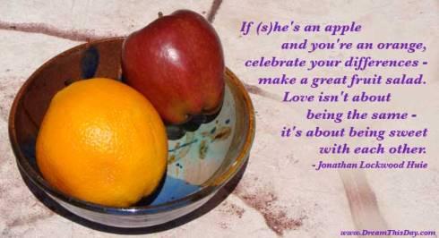 אם את במקרה תפוח ואת מחפשת דרך להתמזג עם תפוז אז למה שלא תנסי להכין סלט פירות?